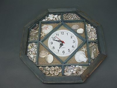 Large Wooden Wall Clock 32 cm Nostalgia Watch Antique Style with Shells