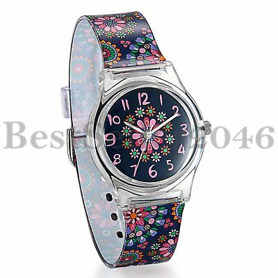 Kids Children Girls Teen Quartz Casual Watch with Colorful Flower Silicone Band