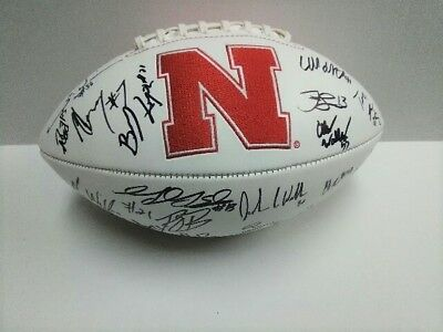 2017 NEBRASKA CORNHUSKERS Team SIGNED Logo Football TANNER LEE