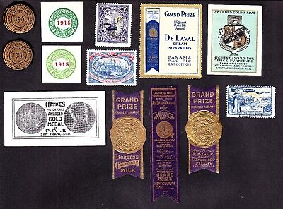 US 1915 San Francisco PPIE Mixed Lot of Poster, Cinderella, Foil Stamps
