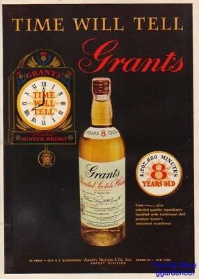 1955 Grant's Scotch Whisky Whiskey Time Will Tell Clock Vintage 1950s Ad MMXV