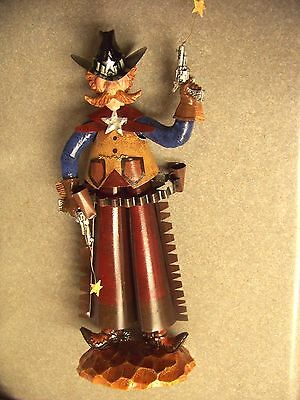 "tin Sheriff Cowboy bobble body bobbing figure 12"" tall move front to back"
