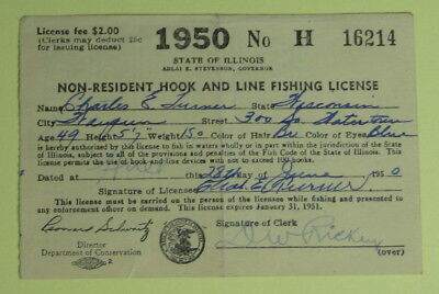 1950 Illinois Conservation Non Resident Hook & Line Fishing License Permit