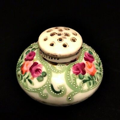 Antique Sugar Shaker Muffineer Hand Painted Floral Porcelain 3 inch Diameter