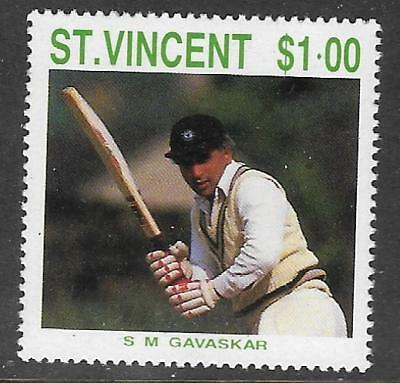 ST VINCENT 1988 CRICKETERS Sunil Gavaskar 1v MNH