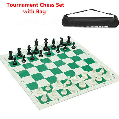 Portable Tournament Chess Set Plastic Pieces & Roll Board w/ Bag 43x43cm Green