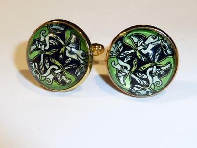 Gold Plated Cufflinks - Celtic Design - Gift Bag - Free Uk P&p........w1353