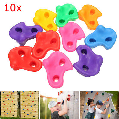 10pcs Plastic Colorful Textured Climbing Rock Wall Stones Kids Assorted Holds