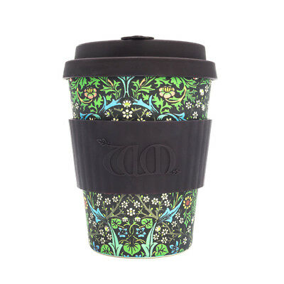 Ecoffee Cup & William Morris Blackthorn with Brown Silicone 12oz Ecofriendly Mug