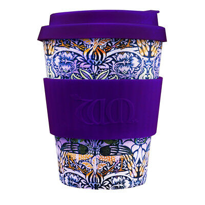 Ecoffee Cup & William Morris Peacock with Dark Purple Silicone 12oz Eco Friendly