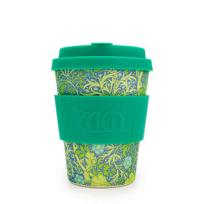 Ecoffee Cup & William Morris Seaweed Marine with Turquoise Silicone 12oz Eco Mug
