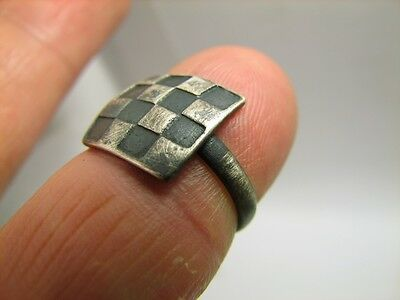 Chessboard -  Author's Work - Vintage Silver Ornamented Ring  #5775