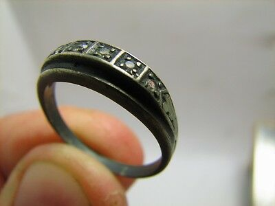VERY NICE VINTAGE STERLING SILVER ORNAMENTED RING with STONE #5966