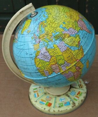 Old 9 Inch Diameter Globe On Metal Base To Tidy And Clean Up