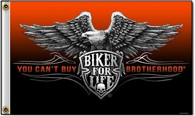 You Cant Buy Brotherhood Biker For Life Eagle Polyester 3x5 Foot Flag Motorcycle