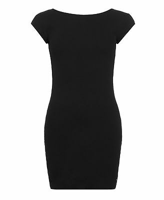 New Womens Superdry Factory Second Pattern Bodycon Dress Black