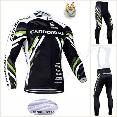 NEW Winter Thermal Fleece Bicycle Team Long Sleeve Jersey  Gel pad Long Trousers