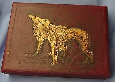 Antique Victorian Valentine Borzoi Box 11""