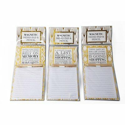 Fridge Magnet Lined Magnetic Note Pad & Pencil Shopping List 50 Sheets