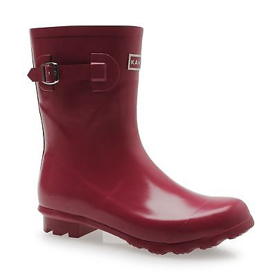 Kangol Low Cut Wellington Gum Boots Womens Berry Rubber Rain Wellies
