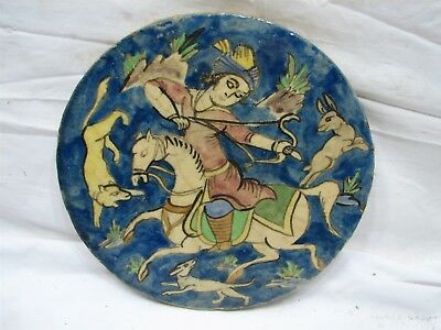 Antique Hand Painted Architectural Round Tile Persian Horse Hound Hunting Hare