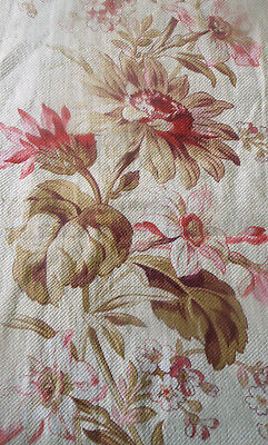 Antique French Botanical Daisy Floral Cotton Fabric ~ Blush Pink Red Olive