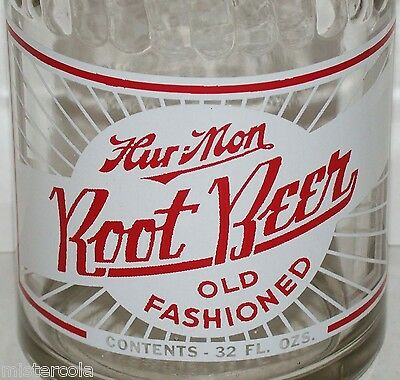 Vintage soda pop bottle HUR MON ROOT BEER Cedar Rapids Iowa 32oz size Rare one
