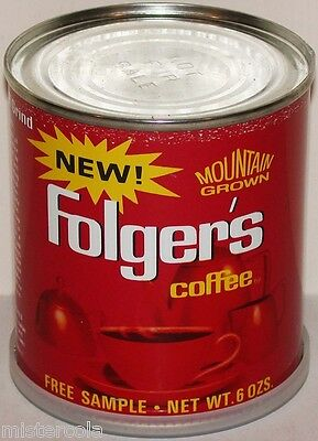 Vintage coffee tin NEW FOLGERS Mountain Grown marked Free Sample with lid exc++