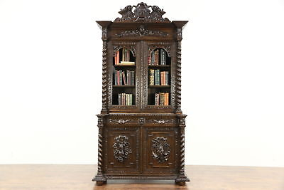 Black Forest Antique 1890 Oak Bookcase or China Cabinet Carved Bird & Game Motif