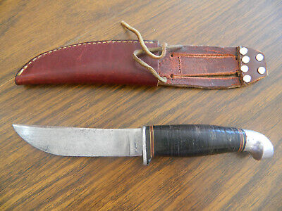 Vintage Kinfolks Usa 340 Hunting Bowie Knife Stacked Leather Handle With Sheath
