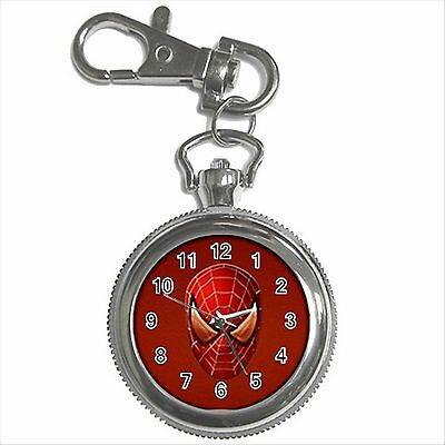 NEW* HOT SPIDERMAN HERO Silver Tone Key Chain Ring Watch Gift