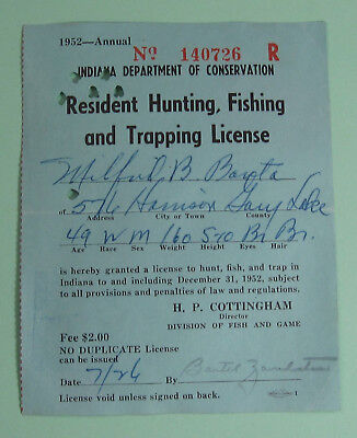 1952 gary indiana conservation resident hunting fishing trapping