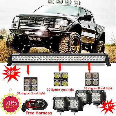 """32inch 180w Led Work Light Bar +4X 4"""" Cree Pods Offroad Truck Ford Jeep SUV 30"""