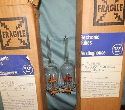 NOS NIB PAIR WL 7676 three electrode ionization vacuum TUBE gauge to measure gas