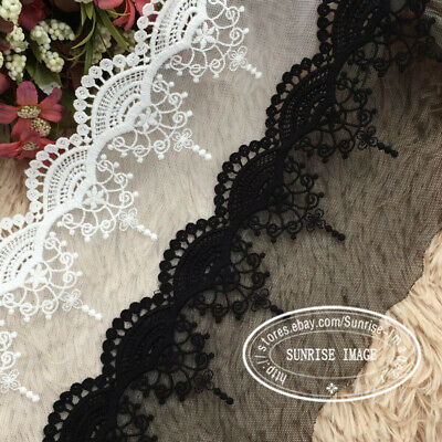 FP92 1 Yard Lace Trim Ribbon Clothes Applique Embroidered Curtain Sewing Crafts