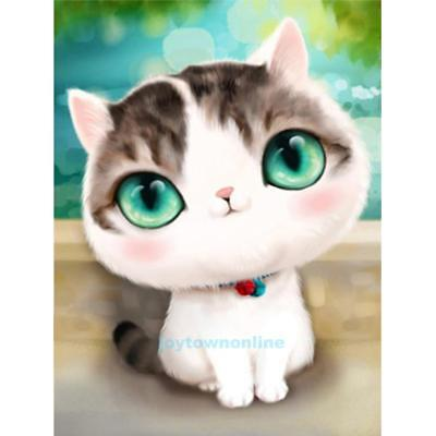 Lovely Cat 5D Diamond DIY Embroidery Painting Cross Stitch Craft Home Art Decor