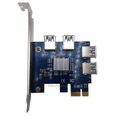 1 X 4 Slots PCIE 1 to 4 PCI Express 16X Slot External Riser Card Adapter Board