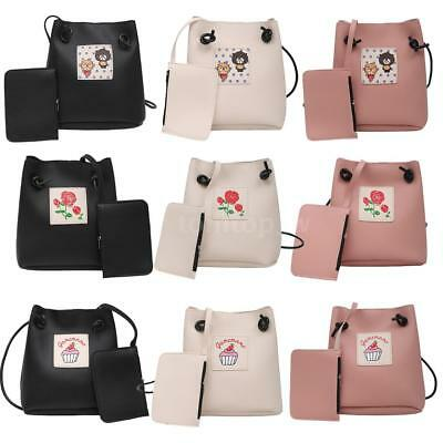 Women's Girls PU Leather Bucket Bag Messenger Crossbody Bag Handbag 2Pcs Set