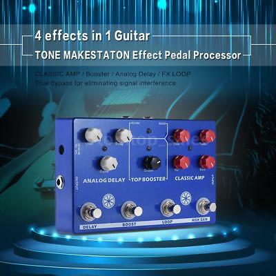 Multi 4-in-1 Guitar Effect Pedal LOOP CLASSIC AMP Booster Analog Delay New Z5G8