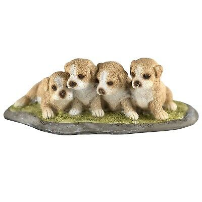 "Four Puppies Dog Figurine 4"" Long Resin New In Box!"