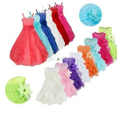 Kid Flower Girl Dress Princess Pageant Formal Party Prom Wedding Bridesmaid Gown