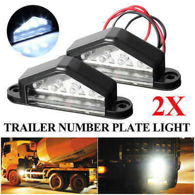 2 x 4 LED TAIL REAR LICENSE NUMBER PLATE LIGHT LAMP TRUCK LORRY TRAILER 12V/24V