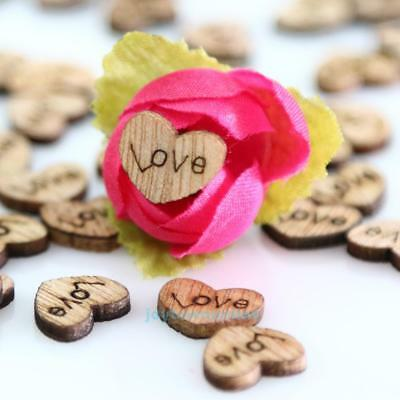 100pcs Rustic Wedding Guest Book Drop Wooden Timber Heart Shapes Decor Ornament