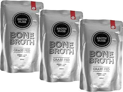 3 x 500ml Broth & Co Australia Grass Fed Beef Bone Broth Pouch ( total 1.5L )