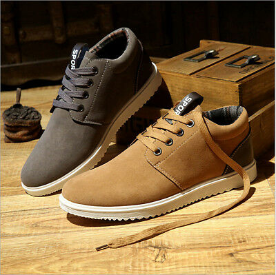 Fashion Men's Suede Leather Recreational Casual Sport Flat Shoes Running Sneaker