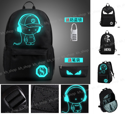 Anti-Theft Lock Noctilucent Backpack Luminous Casual Bag USB Charger Shoulder