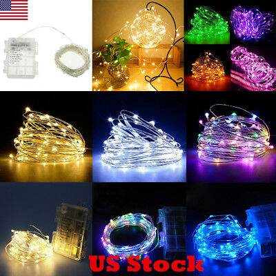 Waterproof 5/10M 50/100LEDs Battery Operated Copper Wire String Fairy Lights USA