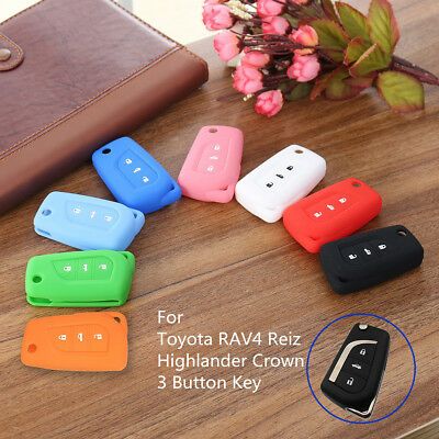3Button Silicone Remote Key Case Cover Fob For Toyota RAV4 Reiz Highlander Crown