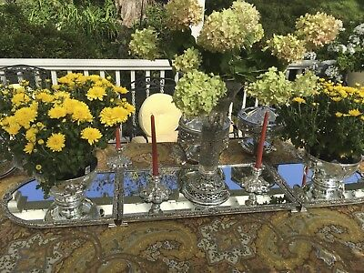 English Victorian Silver Plate 3 Sections Mirrored Plateau – Extra Long