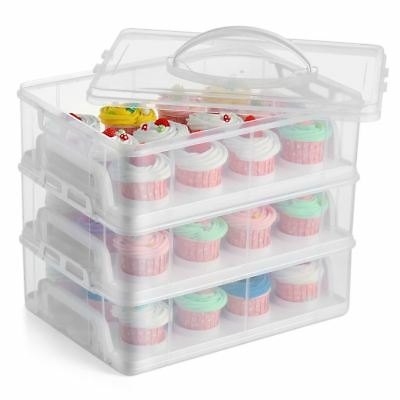 3 Tier Stackable Cupcake Carrier Box Muffin Cake Holder Plastic Clear Container